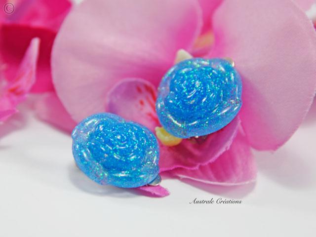"""Boucles d'Oreilles Clips """"Rose bleue"""""""