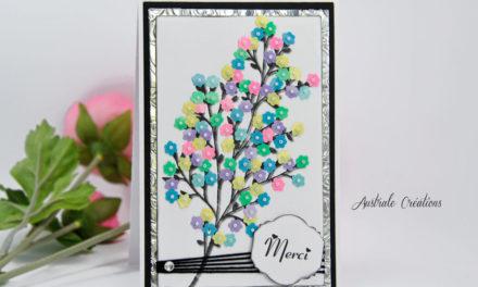 Carte Brodée : Arbre en fleurs