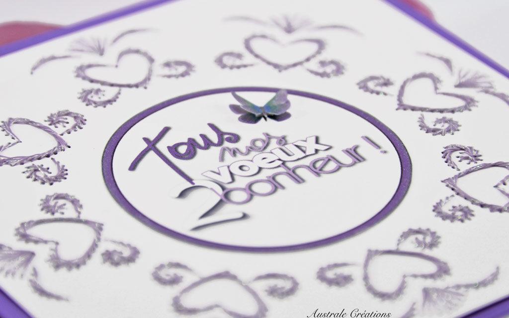 Carte brodée : Tous nos vœux 2 Bonheur