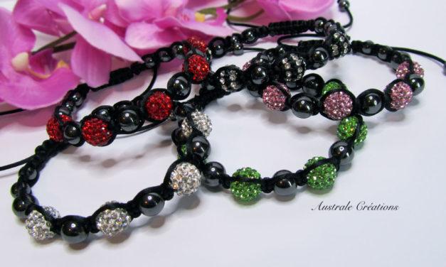 Bracelets Shamballa Strass & Hématites