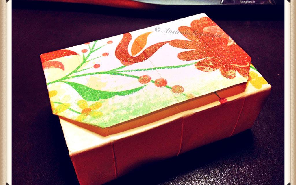 tutoriel bo te cadeau en pliages origami sans colle. Black Bedroom Furniture Sets. Home Design Ideas