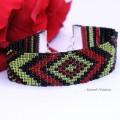 """Bracelet Loom """"Boho"""" Rouge, Noir et Vert"""