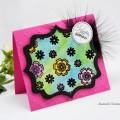 Carte 3D, aquarelle et couture pour anniversaire