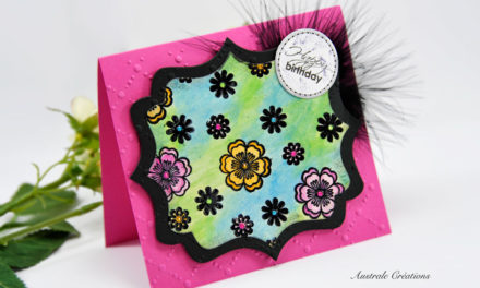 Carte 3D, Aquarelle : Fleurs et couture