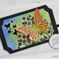 Carte 3D, aquarelle et papillon pour anniversaire