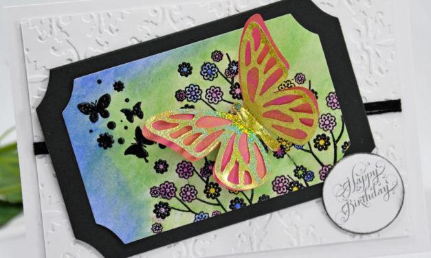 Carte 3D, Aquarelle : Papillons