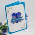 Carte brodée et 3D : Paquet cadeau anniversaire