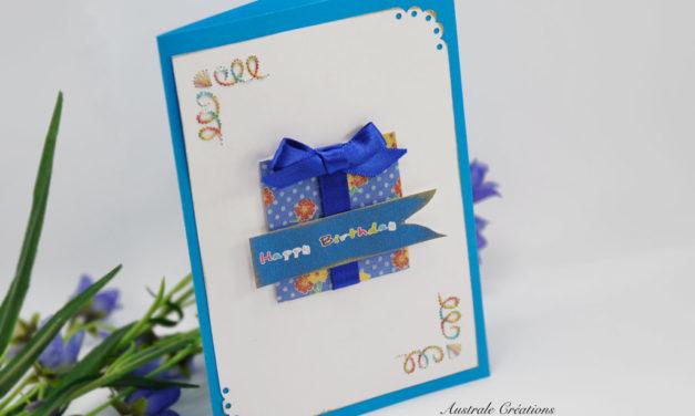 Carte brodée : Paquet cadeau