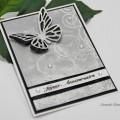 Carte 3D Papillons argentés pour anniversaire