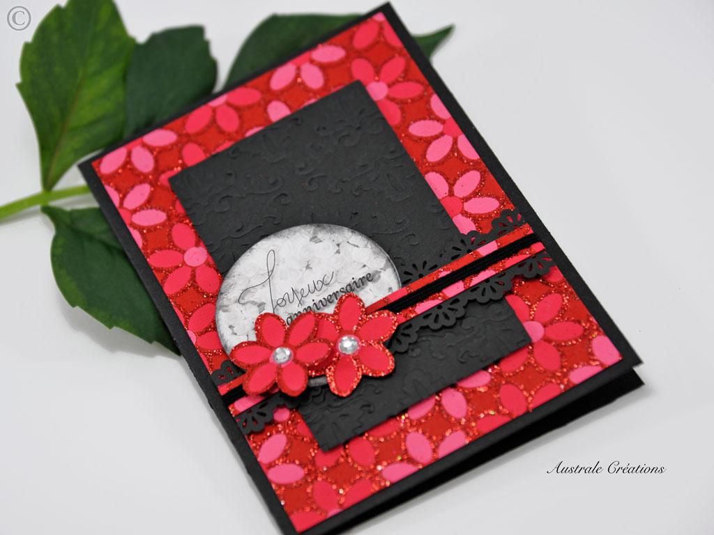 Carte en rouge et noir pour anniversaire