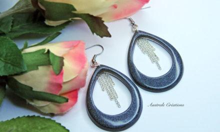 Boucles d'Oreilles «Teardrops» Anthracite et cascade de chaîne