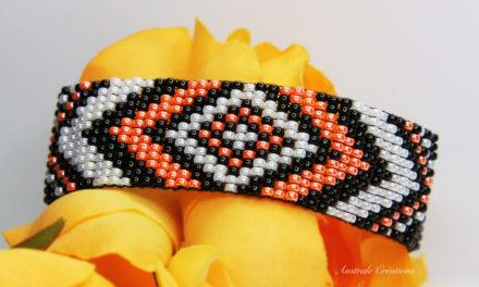Bracelet Loom «Boho» en Orange, Noir et Blanc