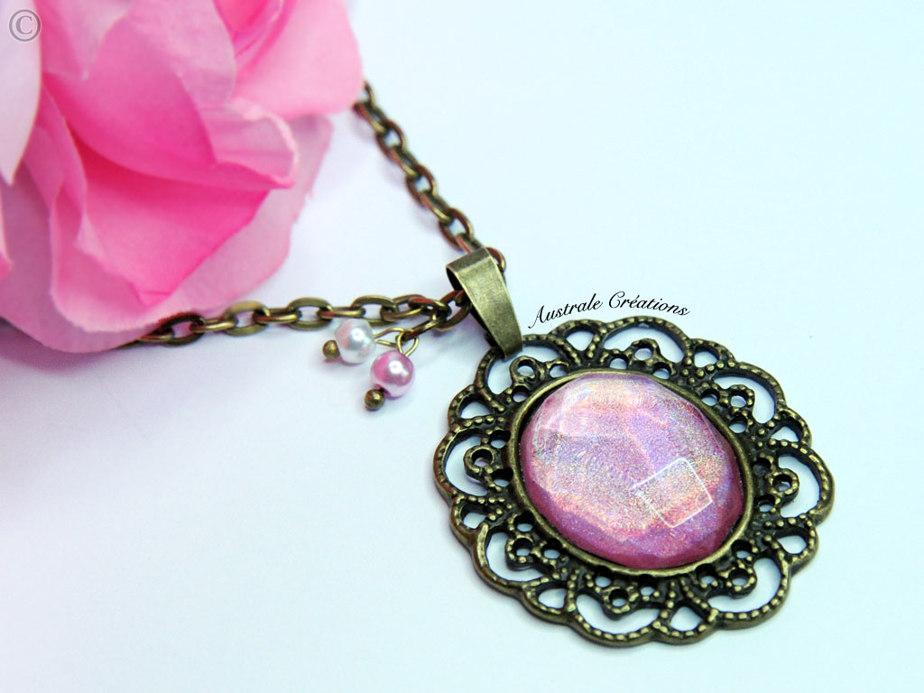 "Sautoir ""Glittering Vintage"" Rose Holographique"