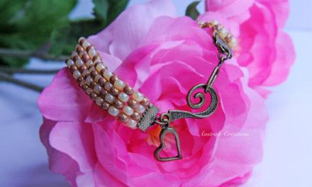 Bracelet Loom «Vanille Caramel»
