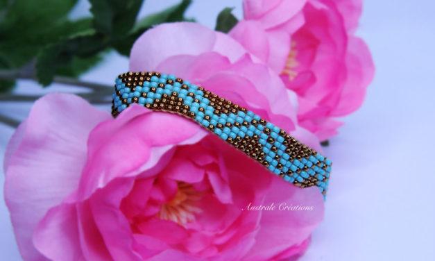 Bracelet Loom «Waves» Bronze et Turquoise