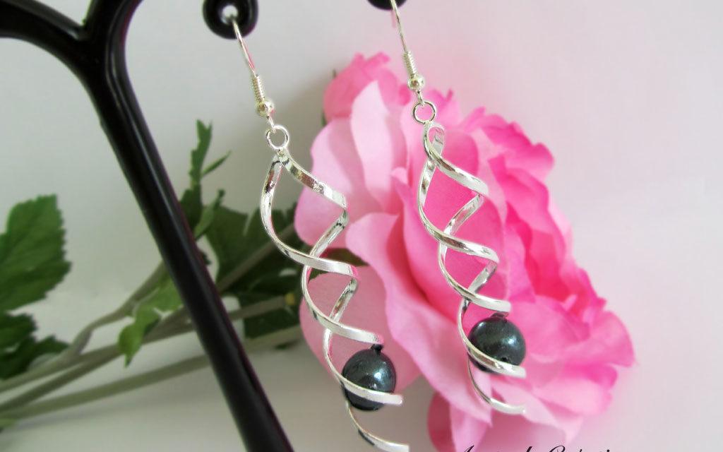 Boucles d'oreilles «Black Swirl» V2