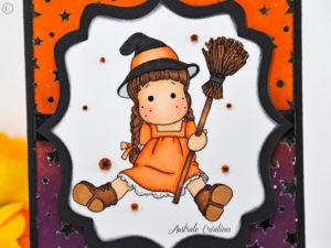 Carte Colorisée : Tilda Halloween