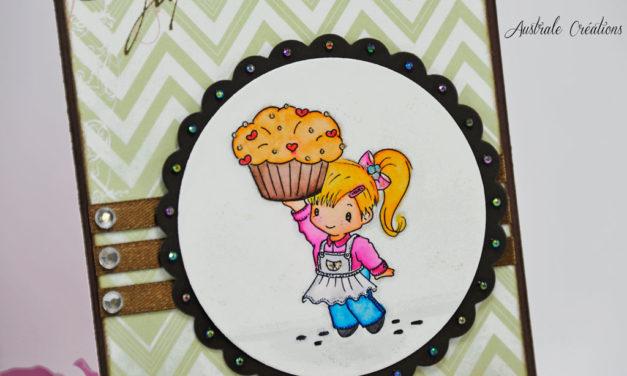 Carte Colorisée : Charlotte au Cupcake