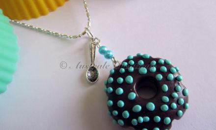 Sautoir «Donuts Choco Turquoise»