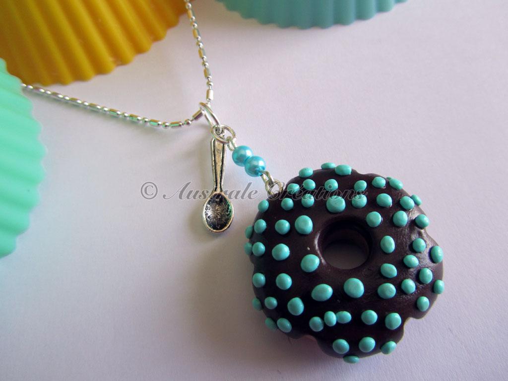 Sautoir « Donuts Choco Turquoise »