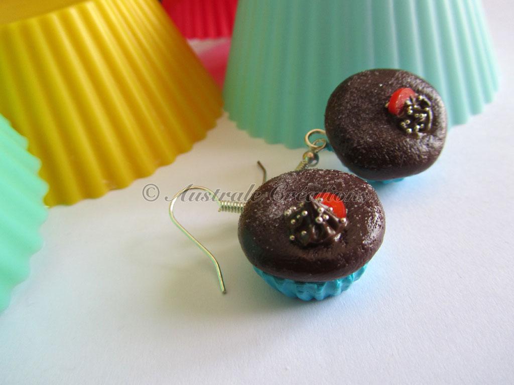 """Parure """"Cupcake choco fondant base turquoise"""""""