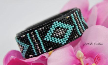 Bracelet «Native American Style» (Noir, Turquoise & Argenté)
