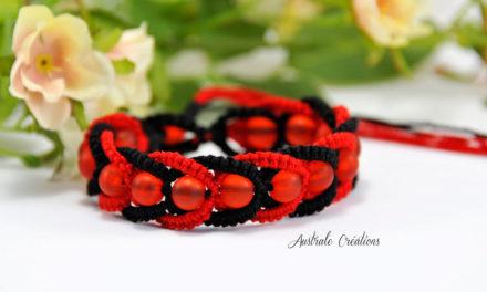 Bracelet «Intertwining» Rouge & Noir