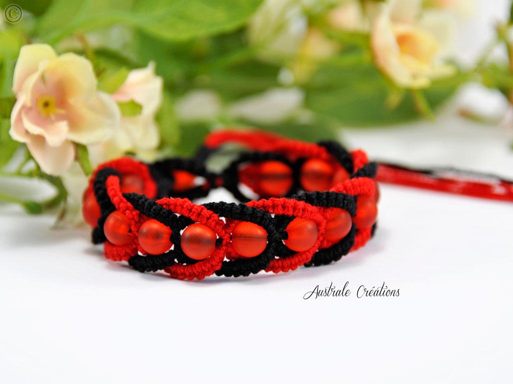 Bracelet Intertwining en Rouge et Noir
