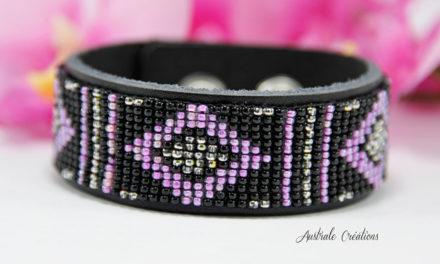 Bracelet «Native American Style» en Noir, rose et Argenté