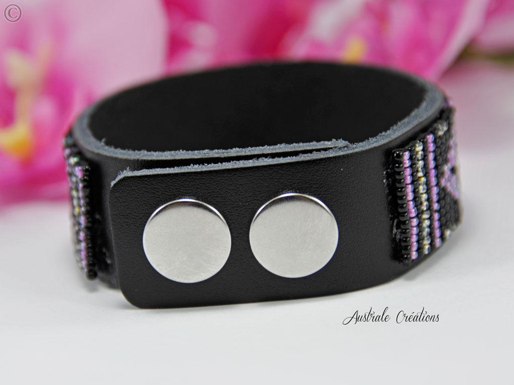 Bracelet Native American Style rose noir argente