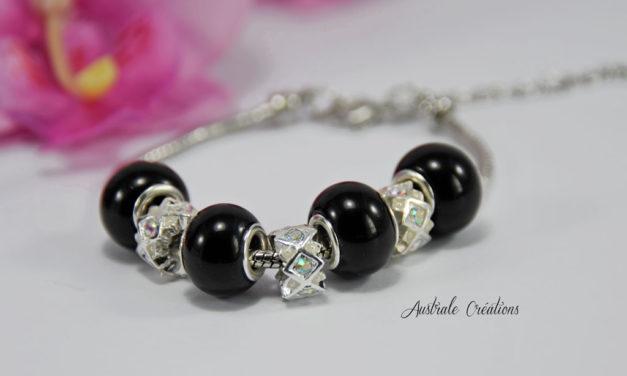 Bracelet «Australa» en Noir et Cristal