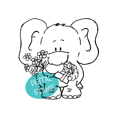 Digistamp éléphant Gerda Steiner Designs