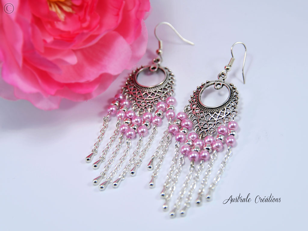 Boucles d'oreilles Shabby Pink