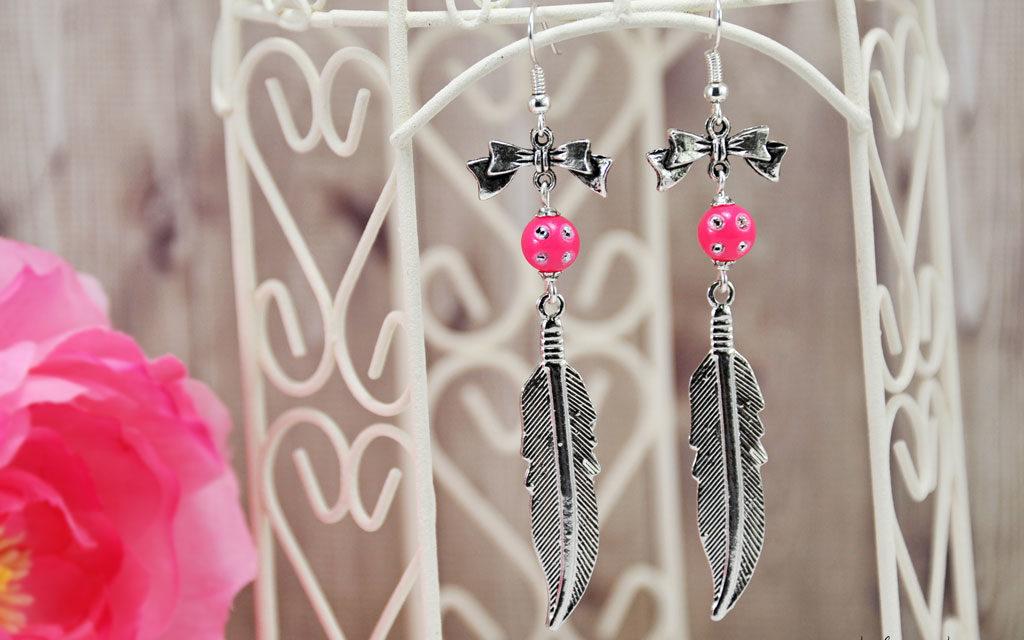 Boucles d'Oreilles «Pink Feather»