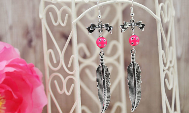 Boucles d'Oreilles « Pink Feather »
