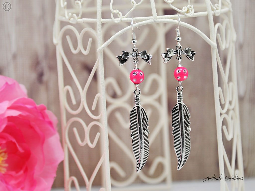 Boucles d'Oreilles Pink Feather
