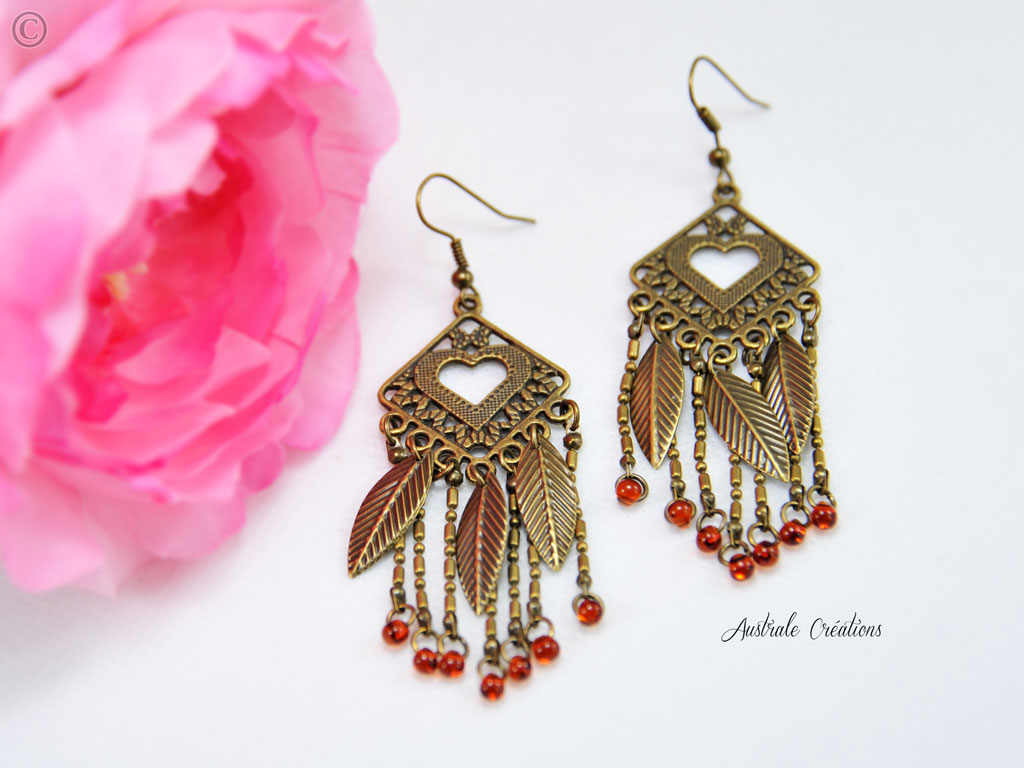 Boucles d'Oreilles Smoky Feather