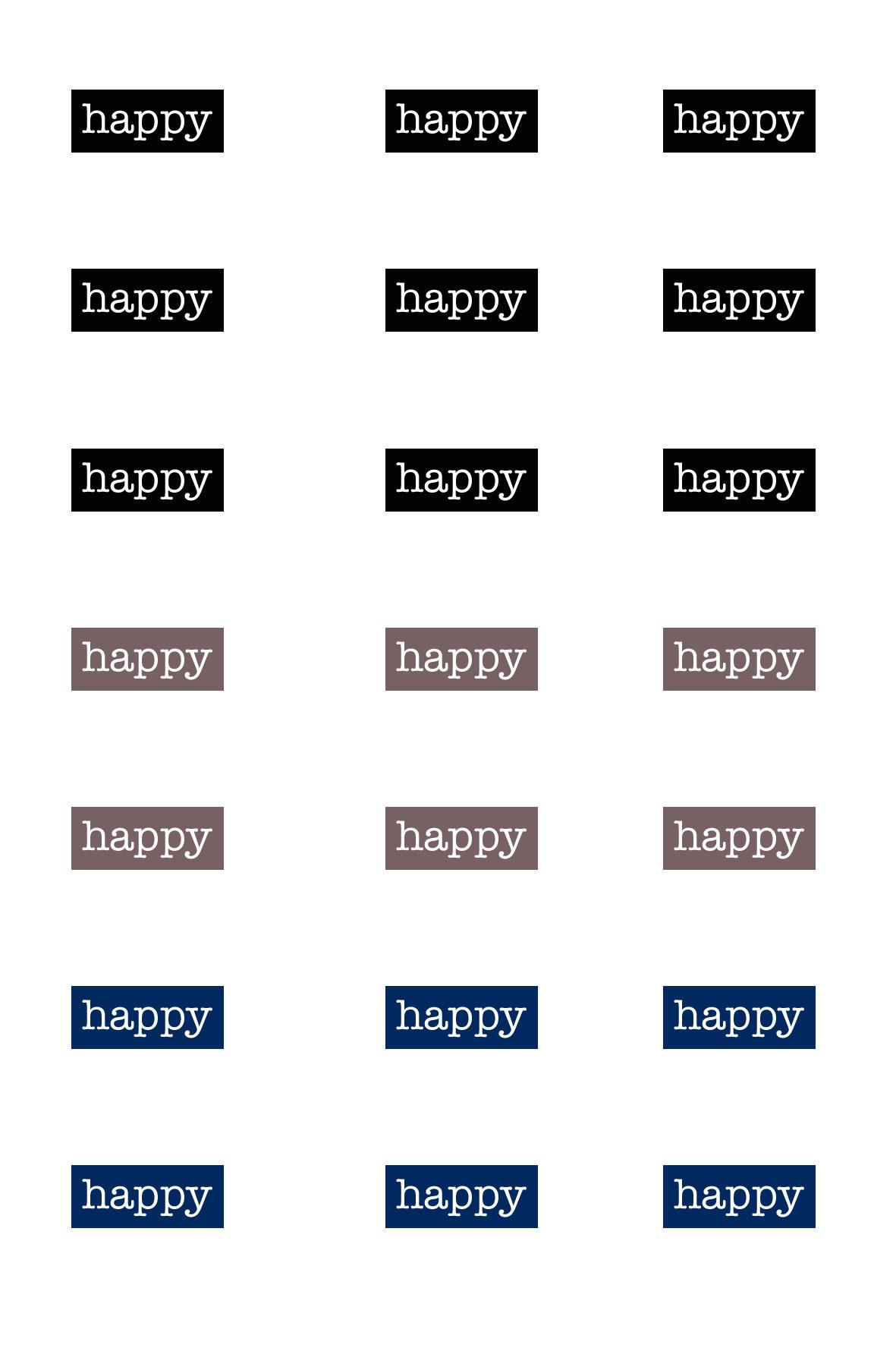 Fichier à imprimer Planche d'étiquettes HAPPY par Australe Créations