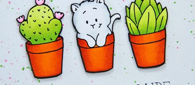 Carte : Kitten in Flowerpot