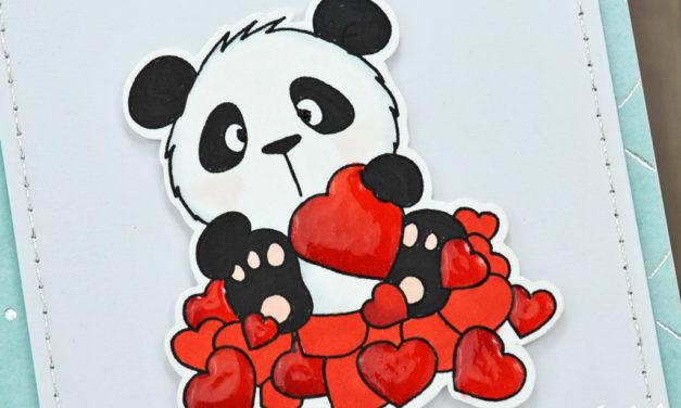 Carte et pochette cadeau : Panda in Love