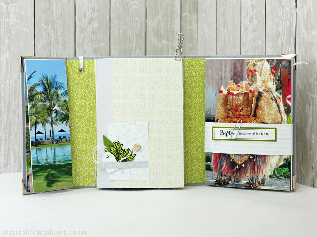 Mini album souvenir de Bali avec structure en cartonnage à 3 volets, projet d'eva à la 4encrop 2019
