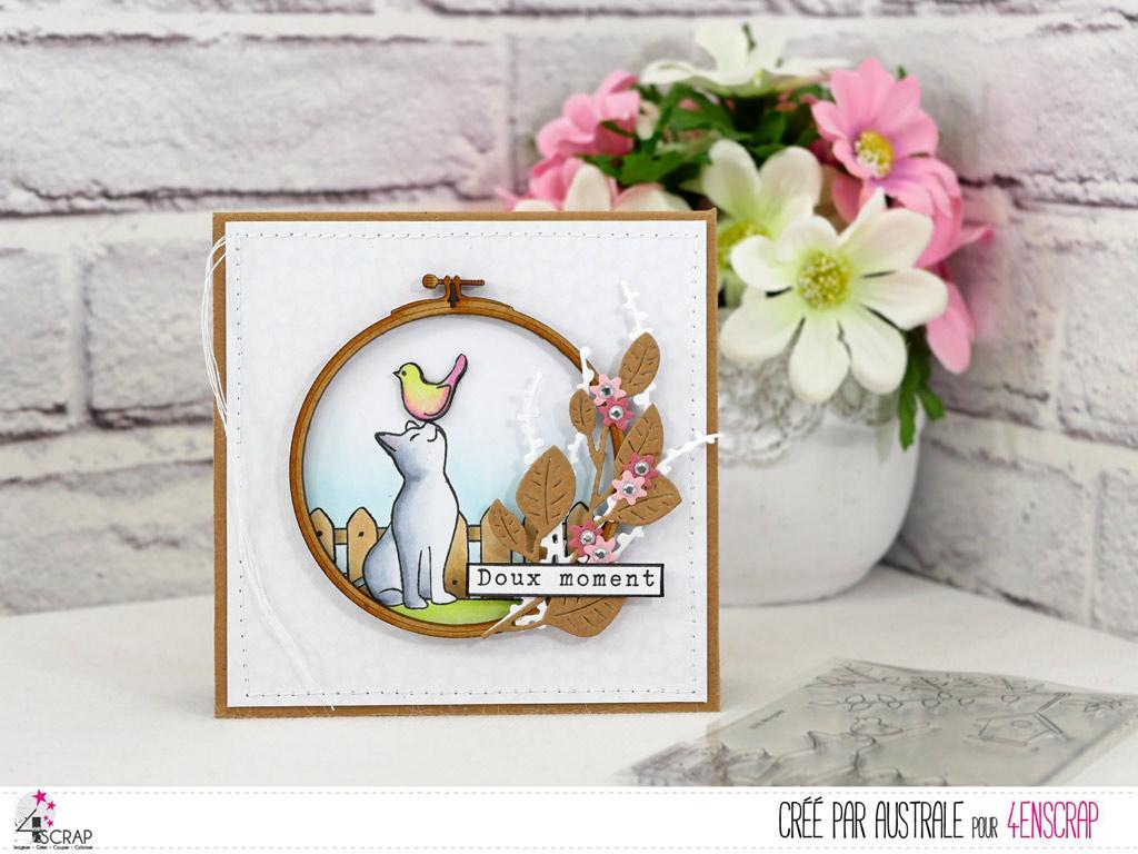Carte d'amitié avec un adorable petit chat et son ami l'oiseau, cercle à broder et feuillages de 4enscrap.