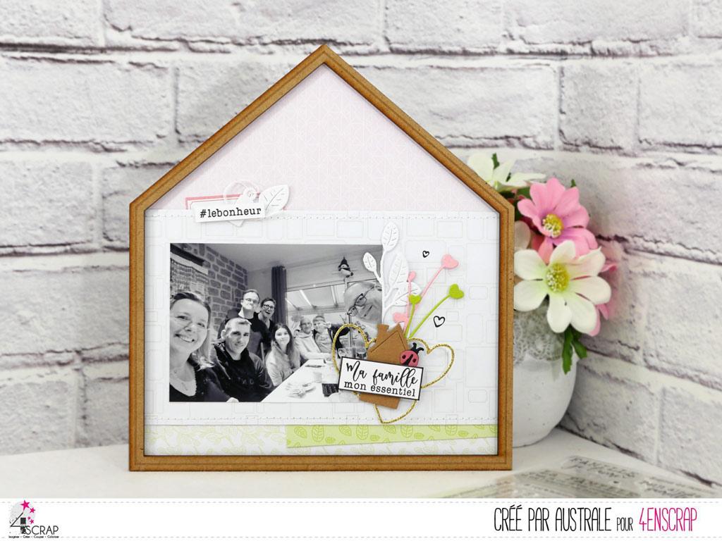 Home déco en forme de petite maison avec fond page et photos, feuillages, maison, coeurs et coccinelle.
