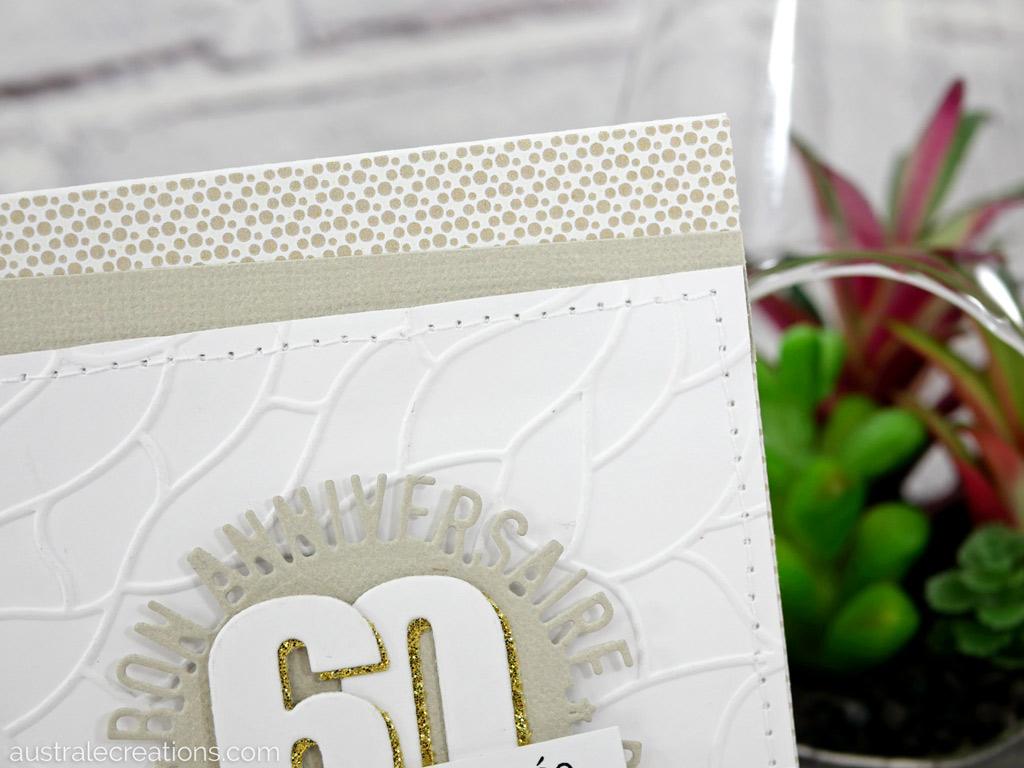 Carte d'anniversaire pour homme, 60 ans, dans un combo en gris, blanc et doré.