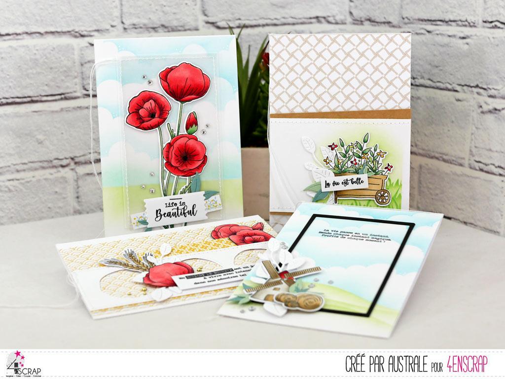 Quatre cartes sur le thème de la campagne avec brouette en fleur, moulin, coquelicots sur fonds de paysages réalisé à l'encre Distress Oxide.