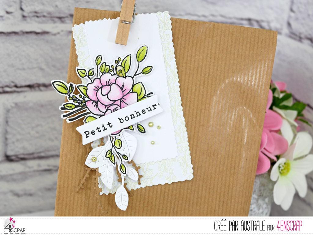 Etiquette cadeau pour le fête des mères avec de jolis pivoines mis en couleurs au crayon aquarellable.