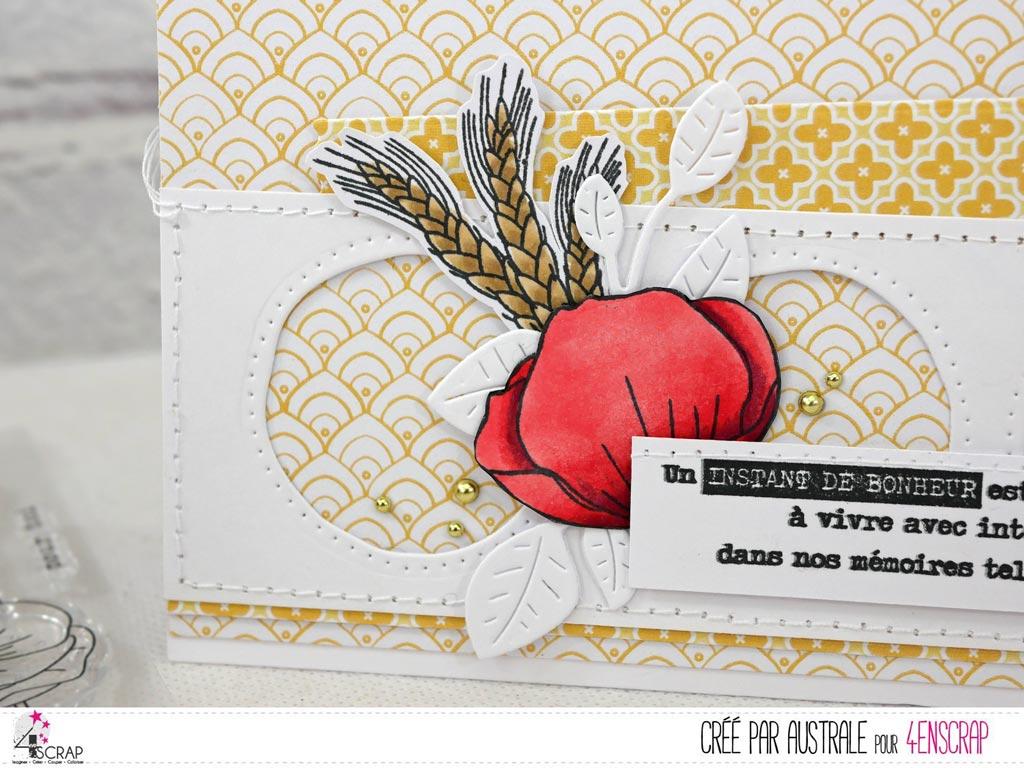 Carte pour toutes occasions sur le thème du bonheur avec coquelicots, épis de blé et feuillage sur un fond graphique jaune.