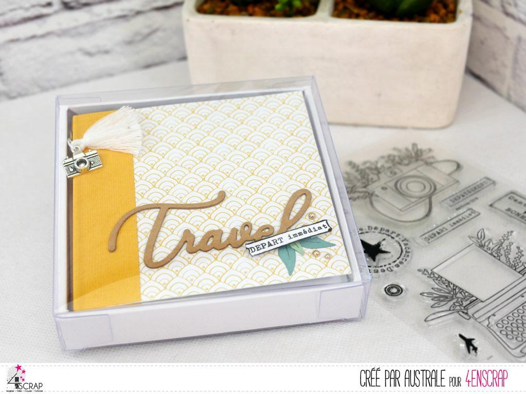 Mini lbum à offrir dans son coffret et sa boite en plastique avec décorations sur le thème du voyage.