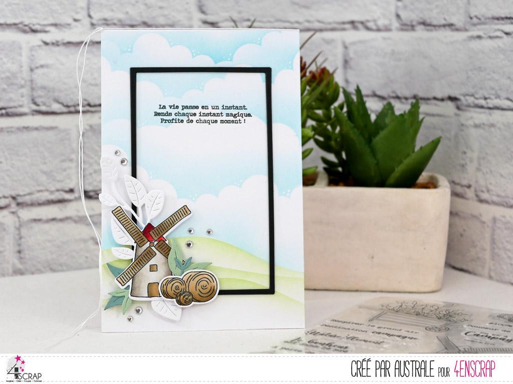 Carte pour toute occasion avec fond paysage réalisé au pochoir et à l'encre distress oxide avec un petit moulin, botte de foin et feuillages d'été.