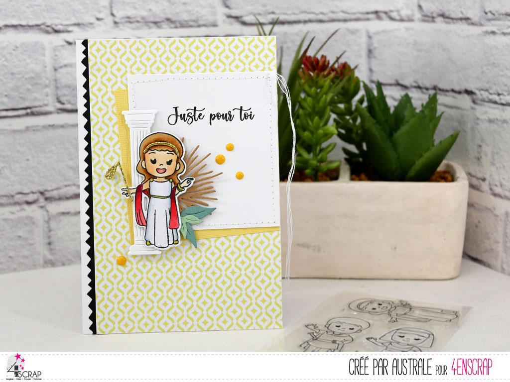Carte d'anniversaire pour fillette avec une petite dééesse grecque, colonne, feuille de papyrus et feuillages dans un combo en jaune, kraft et vert.